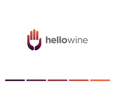 Hellowine minimal design gradient illustration mark identity symbol logo hello spg negativespace negative space wine logo hand logo glass wine gesture hand