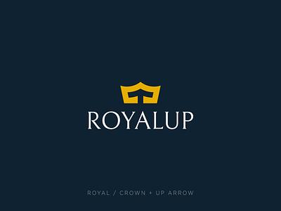Crown + Up arrow branding negative space minimal ui identity mark symbol logo up arrow elegant luxury royal crown logo crown