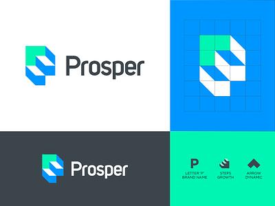 Prosper Logo Design spg mark design ui logomark minimal identity symbol logo growth arrow logo logotype p logo step logo p arrow steps step prosper