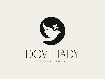 Dove Lady design minimal logomark fly glamour elegant beauty negative space typography flower bird face girl women lady dove illustration identity symbol logo