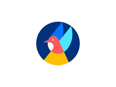 Bird spg circle geometric animal logo icon minimal design illustration identity mark symbol logo colour colorful color flying fly bird