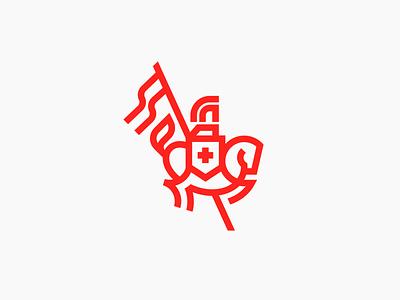 Knight logomark design minimal identity mark symbol illustration branding logo spartan warrior human man animal flag horse knight