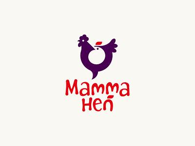 Mamma Hen branding identity negative space animal logo illustration mark symbol logo animal baby child kid mother mom chicken hen logo bird rooster cock hen