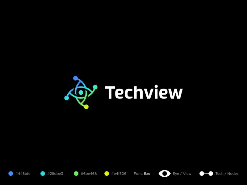 Techview design ui identity mark branding gradient color abstract symbol logo eye logo connect network technology tech logo nodes node view eye tech