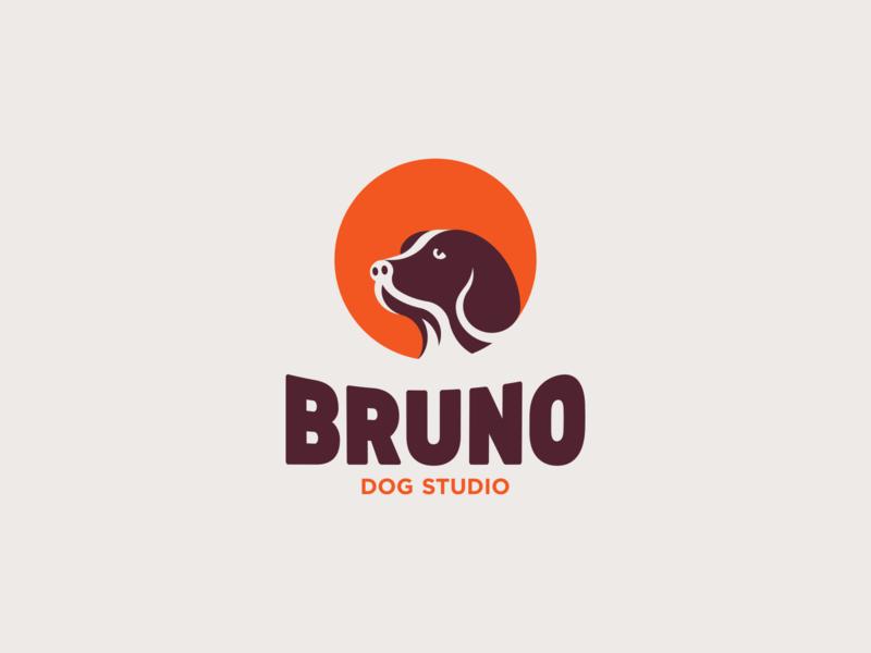Bruno Dog Studio spg logotype branding brand negative space logo negativespace symbol mark icon minimal logo animal logo animal pet logo pet dog illustration dog logo dog