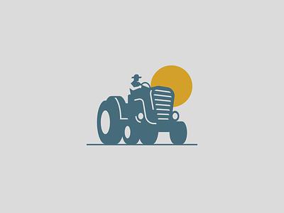 Tractor spg food truck vehicle brand symbol mark negative space man sun logo illustration village farm farmer tractor