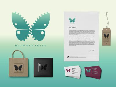 Branding Identity Logo - Biomechanics modern flat minimalist stationery surreal branding logo vector