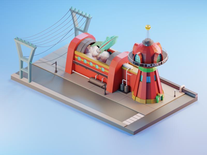 Futurama - Planet Express express illustration 3d modeling blender3dart blender 3d blender ship futurama 3d ilustration 3d art 3d