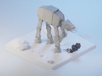 AT-AT walker and T47 - Star Wars