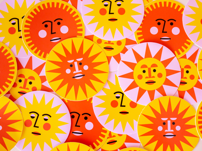 Sunny Face Stickers sticker yellow orange pink summer sunny sun illustration art