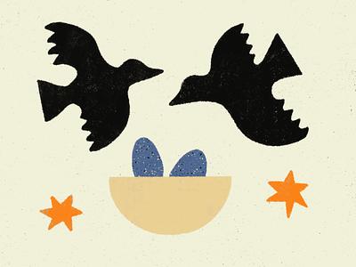 Nest blackbird texture ipad procreate illustration stars eggs nest birds