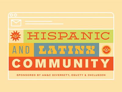 Hispanic & Latinx Community Email Header send corporate illustration retro type lettering hispanic latinx suns email