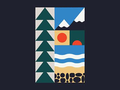 PNW cascade pine tree pine waves sun washington geometric illustration geometric retro oregon pnw mountains river beach forest