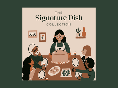 Signature Dish Collection Podcast Cover texture procreate illustration friends family recipe podcast cooking
