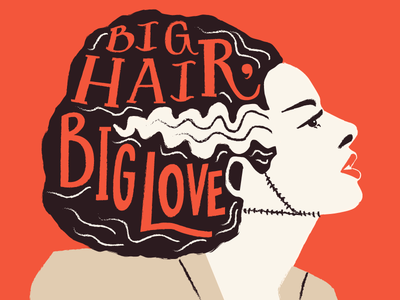 Big Hair, Big Love vintage horror scary halloween illustration big hair bride of frankenstein