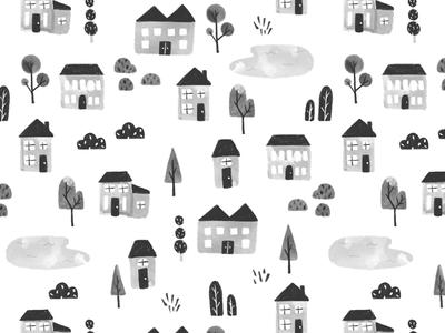 House Pattern surface design pond neighborhood homes pattern illustration procreate village house