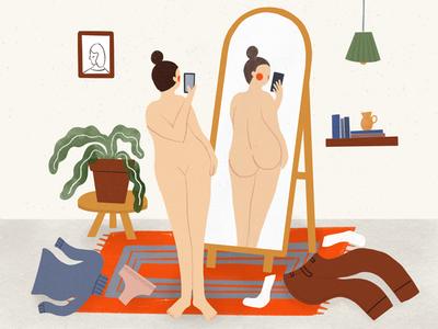 Send Nudes self love procreate illustration room interior woman lady naked