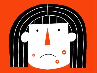 ZITS geometric childish girl sad acne illustration simple