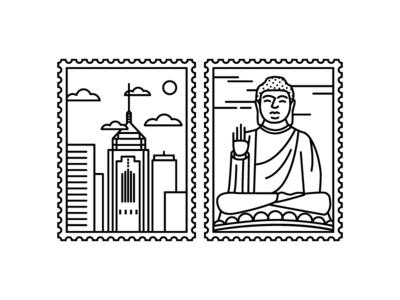 Hong Kong Stamps line temple scenery city icon travel stamp tian tan buddha central plaza hong kong