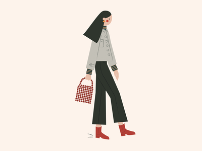 Street Style outfit simple vector style fashion gif illustration