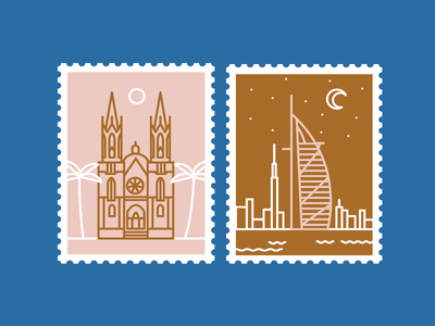 More Stamps vector mail postage stamps dubai sao paulo city international