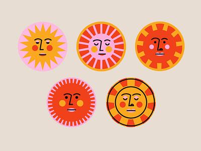 Sunny Faces circle badge geometric vector face sun