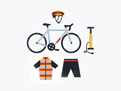 Bike Stuff texture flat lay vector pump tire bibs bike jersey helmet illustration road bike cycling kit