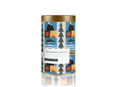 Coffee Packaging tin tree sun fish mountains nature packaging coffee