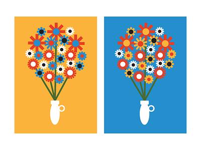 Spring is Springing warm seasons geometric vector primary jug vase bouquet flowers