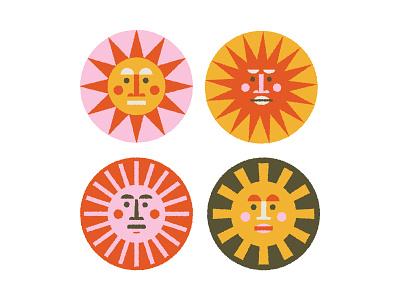Sunny Faces Round II vector illustration sunny shapes desert geometric faces badges sun