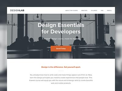 DesignLab designlab web website ui simple clean minimal flat lander landing page unsplash
