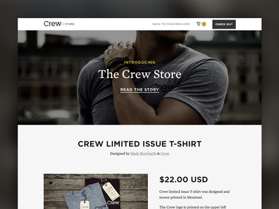 Introducing The Crew Store store shop crew ecommerce web design landing page grungy simple clean hero shopify