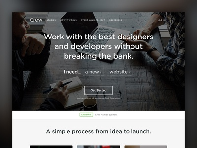 A New Crew hero clean simple landing page web design website crew