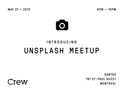 Unsplash Meetup invitation typography simple clean type crew event montreal meetup unsplash