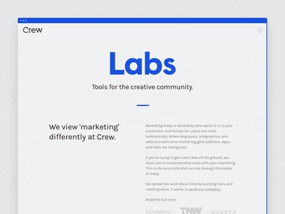 Crew Labs one page marketing page web design web typography landing page lander crew labs crew simple clean