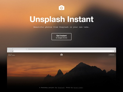 Unsplash Instant minimal landing page lander simple extension chrome unsplash instant unsplash