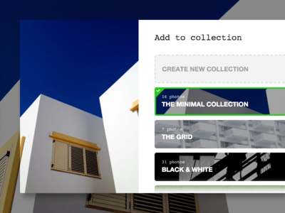 Add to Collection select list interface ui add to collection modal collections unsplash