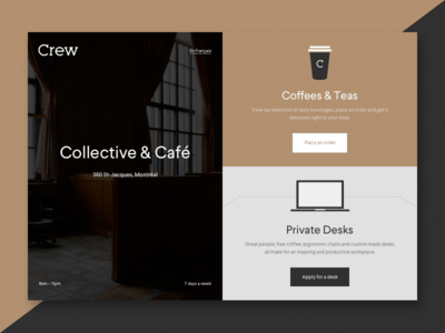Crew Collective & Café - WIP crew cafe crew collective cafe coffee shop coffee landing page website lander crew