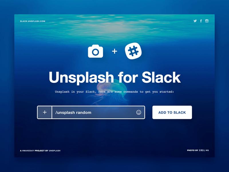 Unsplash for Slack landing page lander simple minimal clean slack bot bot slackbot slack unsplash