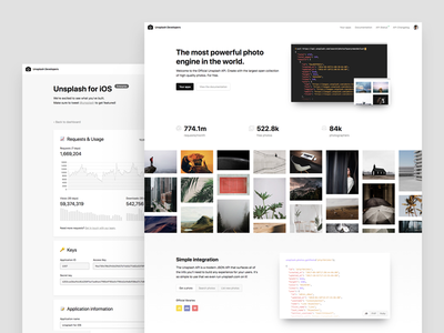 Unsplash API documentation chart landing page marketing dashboard page unsplash api api unsplash