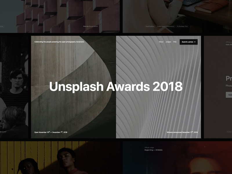 Unsplash Awards 2018 marketing unsplash awards landing page unsplash