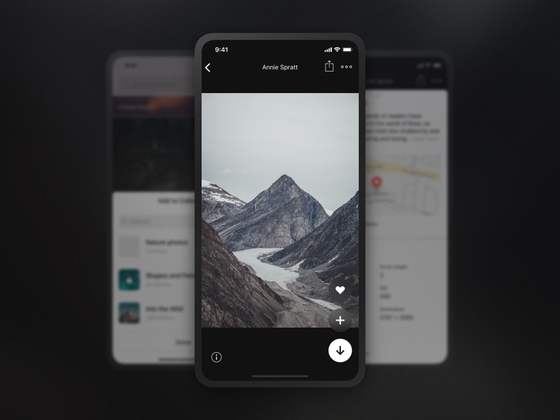 Unsplash for iOS (Preview) actions controls button buttons simple photo interface ui app iphone ios unsplash