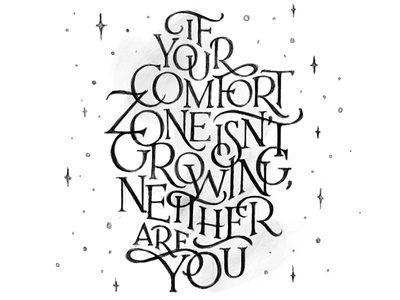Comfort Zone words typography hand drawn hand lettering lettering