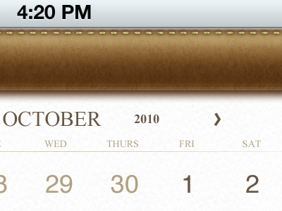 OCTOBER calendar brown gold white