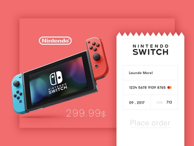 Check Out • UI Design minimal ticket card out check switch nintendo ux red interface ui daily