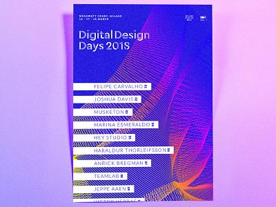 Digital Design Days • Graphic Design electric blue graphic poster generative colorful neon illustrator abstract shape event digital design days