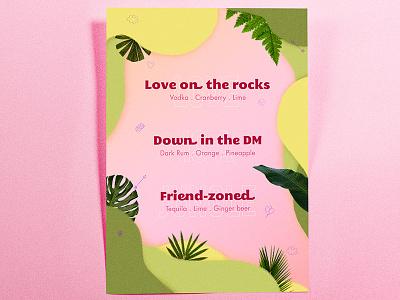 Valentine's Drink Menu • Graphic Design typography print design graphic green plants love jungle pink menu drink poster