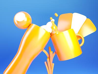 Class Trophy • 3D modelling fries metaball liquid cards tea beer cinema 4d 3d modelling design