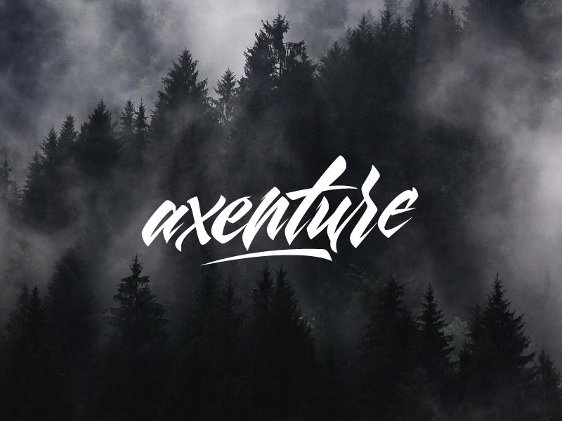 Axenture hand lettering type logo calligraphy script maxilariz brush typeface font