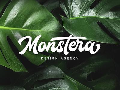 Monstera Custom Lettering Logo monstera calligraphy brush lettering custom brand branding logo